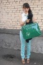 Aquamarine-cotton-tby-jeans-dark-green-faux-leather-rosalita-mcgree-bag