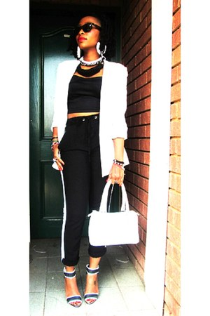 white tuxedo blazer - high waste pants - black and white heels - black crop top