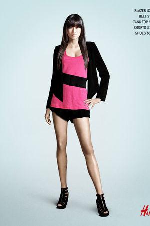 black H&M blazer - black H&M belt - pink H&M top - black H&M shorts - black H&M