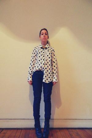 white Solilor shirt - navy Forever 21 jeans