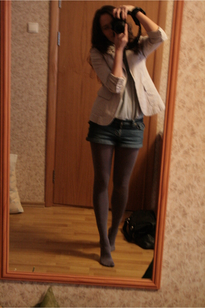 silver Newlook top - gray - shorts - beige Topshop jacket