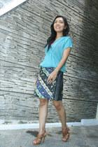 blue batik Batik skirt - aquamarine loose second skin blouse