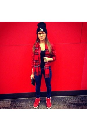 red H&M jacket - blue Mango jeans - black LA hat - red scarf - black H&M top