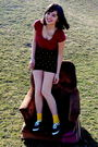 Red-shirt-black-american-apparel-shorts-gold-keds-socks-black-shoes