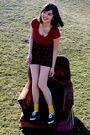 Red-shirt-black-american-apparel-shorts-gold-keds-socks-black-shoes
