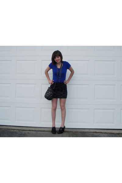 blue Charlotte Russe shirt - black Forever 21 skirt