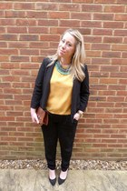 light orange Topshop blouse - black River Island blazer - brown vintage bag