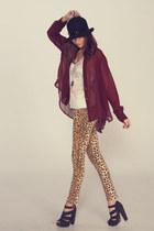 camel leopard Mink Pink pants - crimson sheer Mink Pink blouse
