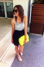 Nude-primark-shoes-black-lefties-dress-yellow-primark-purse