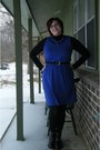 Black-moto-thrifted-boots-blue-thrifted-dress-black-gifted-shirt
