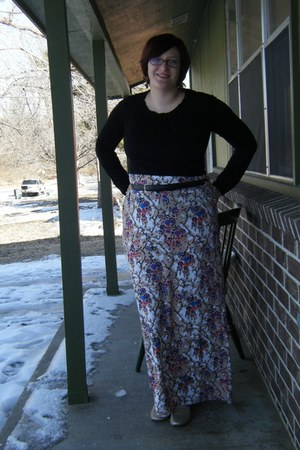 blue maxi DIY skirt - black long sleeved Target shirt - black thrifted belt