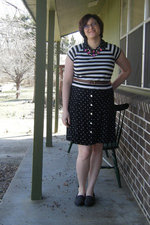 black polka dot thrifted dress - white cropped DIY t-shirt - pink Ebay necklace