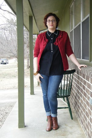 brown thrifted boots - brick red ann taylor sweater - black beaded thrifted top