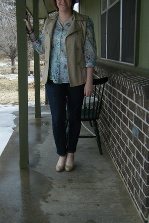 chartreuse thrifted shirt - tan sleeveless DIY jacket