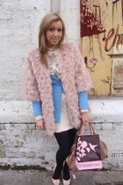 blue tailored H&M blazer - light pink furry Appletree boutique jacket