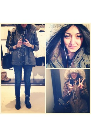 H&M boots - gray American Eagle coat - blue Mango jeans - silver H&M sweater