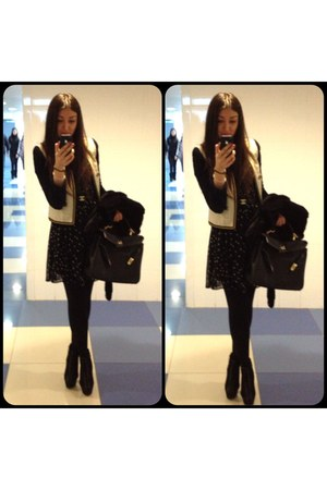 black Zara dress - ivory Mango jacket - black Hermes bag - black Chanel belt