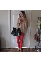 red leather pants GINA TRICOT pants - beige free people sweater