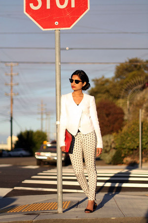 basketweave Tibi blazer - clubmaster ray-ban sunglasses - rag & bone pants