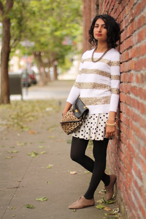 J Crew sweater - Forever 21 purse - Joie loafers - Zara skirt