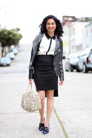 leather Zara jacket - Remi &amp; Emmy bag - pencil Zara skirt