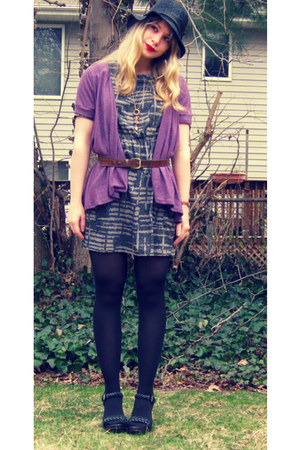 gray Forever 21 dress - black straw All Saints hat - purple Delias cardigan - da