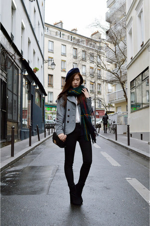 black Nasty Gal boots - navy zipia hat - heather gray H&M jacket