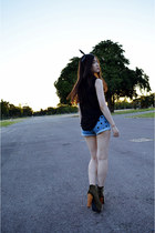 black Jeffrey Campbell boots - blue Nasty Gal shorts - black new look blouse