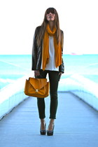 light orange H&M bag - black BLANCO blazer - green Lefties pants