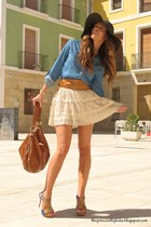 brown hm bag - blue zara skirt - cream sfera skirt - blue johanna heels - brown