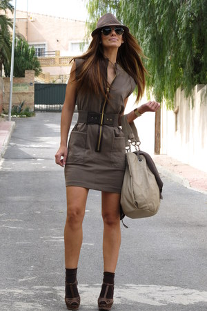 army green sfera dress - light brown sfera bag - dark brown sfera sandals