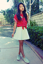 red floral vintage top - off white sequin Sperry Top-Sider shoes