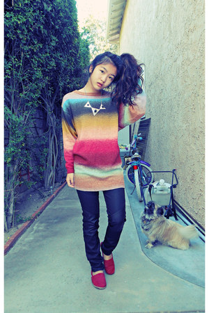 mustard rainbow H&M sweater - black pleather detail H&M pants