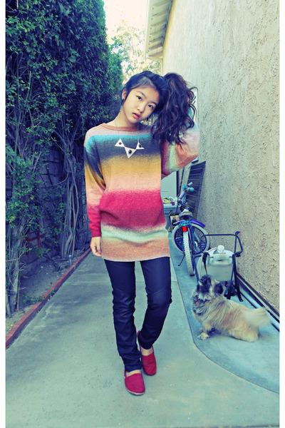 mustard rainbow H&M sweater - black pleather detail H&M pants