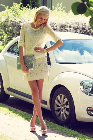 cream H&M sweater - silver H&M bag - off white H&M skirt - cream Ebay watch
