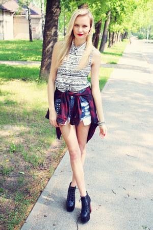white H&M blouse - black Ebay boots - maroon H&M shirt - sky blue Bik Bok shorts