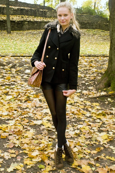 dark brown Primark boots - black Primark jacket - black H&M tights