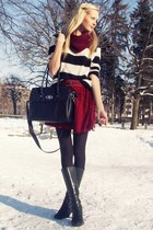 black Danija boots - black Mango sweater - brick red DIY scarf