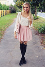 Chicnova-blouse-oasap-skirt-foymall-stockings-h-m-flats