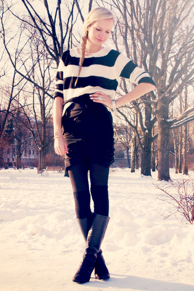 black Danija boots - black Mango sweater - black H&M skirt