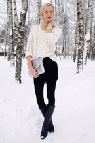 white Pimkie sweater - black Danija boots - silver H&M bag - black H&M skirt