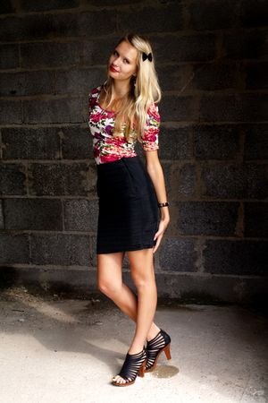red New Yorker top - black New Yorker skirt - black Super Street Shoes shoes - b