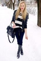 black New Yorker jacket - navy H&M jeans - white Mango sweater