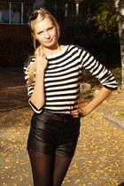 black Bik Bok shorts - black Promod sweater - black Bijou Brigitte accessories