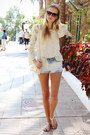 Cream-arafeel-bag-sky-blue-bershka-shorts-cream-ebay-blouse