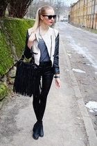 white sammydress jacket - black H&M boots - black Ebay bag