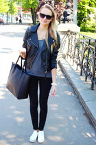 black H&M jacket - black H&M bag - white H&M sneakers - heather gray Primark top
