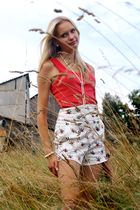 red H&M top - white Zara shorts - black Graceland shoes - pink Bijou Brigitte br