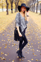 black H&M hat - black H&M boots - dark gray Bik Bok sweater - black Ebay bag