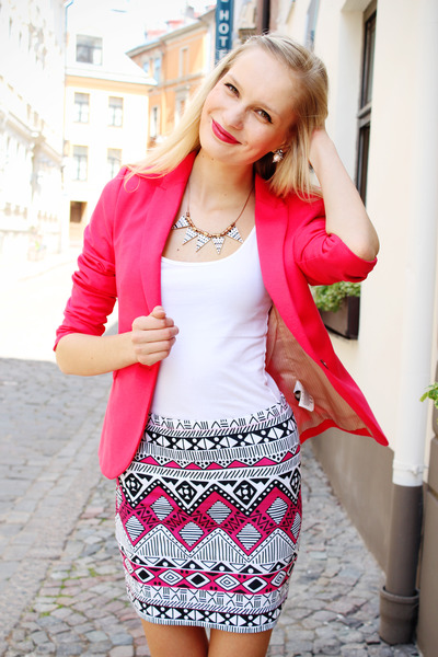 hot pink Terranova skirt - hot pink H&M blazer - white H&M top
